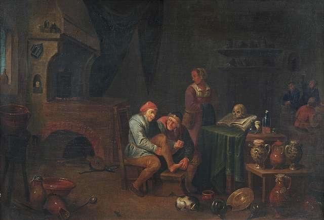 in der stube eines wundarztes im labor eines alchemisten pair by david ryckaert iii