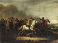 a cavalry skirmish in a mountainous landscape by abraham van der hoef