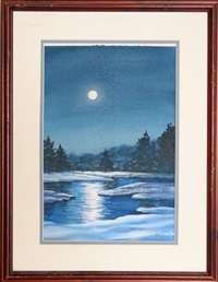snowy moonlit landscape by joe dunn