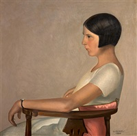 porträt von adelinde hübner (schwester des künstlers) by oswald peter pickel