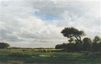 seated figure and cattle grazing in an extensive landscape by louis marie lemaire