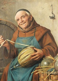 monk with wine bottle by giovanni sandrucci