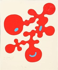rød fornøjet figur på hvid baggrund (+ figure composition; 2 works) by poul agger