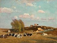oktobersonne - landschaft um berlin mit ruhender kuhherde im sonnigen licht by oskar frenzel