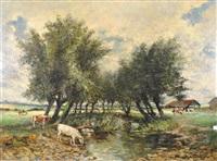 vaches s'abreuvant by gilbert maurice hubin