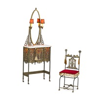 illuminated cabinet with mirror and chair (2 works) by oscar bruno bach