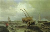 lotsenboot bei dem leuchtturm von cordouan vor der garonne-mündung by julius huth