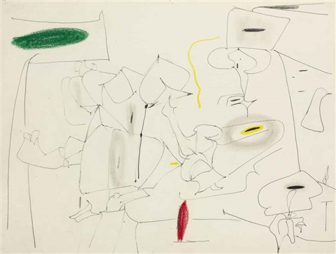 delicate game study by arshile gorky