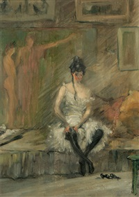 seated woman in a studio by leon dabo