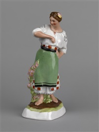 barefooted peasant woman by dmitrovsky porcelain manufactory