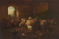 schafe und federvieh im stall by louis (ludwig) reinhardt