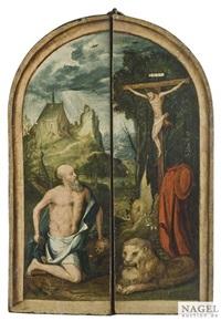 triptychon. auf der mitteltafel maria und anna mit dem christusknaben unter der taube des heiligen geistes, flankiert vom heiligen onofrius und johannes dem täufer auf den seitentafeln. in geschlossenem zustand darstellung des büßenden hieronymus in der ei by anonymous-dutch (16)
