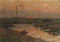 paysage en campine au coucher de soleil by léon riket