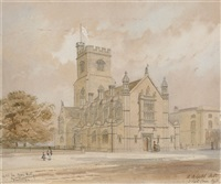 a preliminary sketch for st. barnabas church, homerton, hackney by arthur ashpitel
