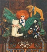 stilleben mit puppe, plüschtieren (bären und affe) sowie harlekin, auf orientteppich arrangiert by a. von overbeck