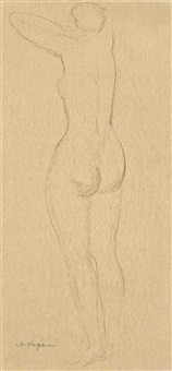 a pair of nude figure studies (2 works) by moishe (moissey) kogan