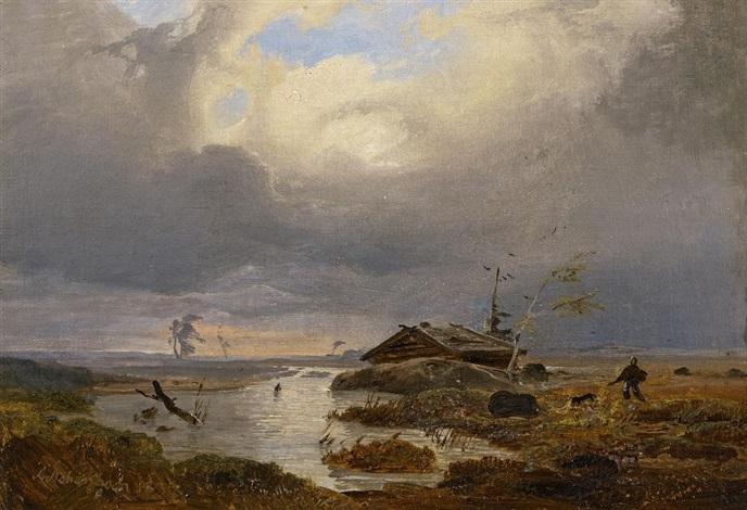 skandinavische landschaftsstudie by andreas achenbach