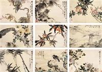 动物花卉十八开册 (album w/18 works) by ma anji
