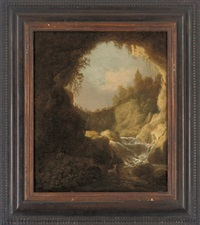 a rocky landscape with a shepherd and a goat by a waterfall by catharina van knibbergen