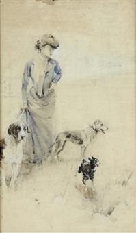 a passeggio con cani (bozzetto) by serafino macchiati
