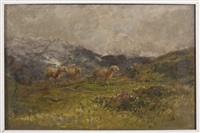 daybreak in the mountains: landscape with sheep by eugenio gignous
