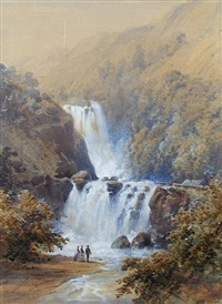view of a new zealand waterfall, with two victorian ladies, accompanied by a maori holding a taiha (on the the whanganui river or the ruakaka river?) by william mein smith