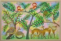 paysage aves écureuils, oiseaux et gazelles by mulongoy pili pili