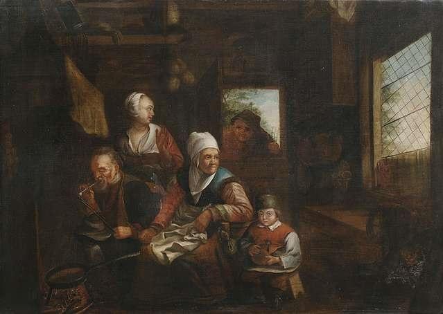bauernfamilie im kücheninterieur by david ryckaert iii