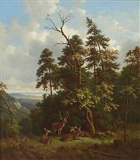 rotwild auf einer waldlichtung in vorgebirgslandschaft by wilhelm reinhardt