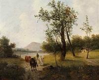 bauer mit kühen in weitläufiger landschaft by julius lindner