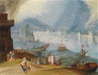 blick über das bacino di san marco auf ein imaginäres venedig mit der piazzetta, dem dogenpalast, der biblioteca marciana und dem campanile by louis de caullery