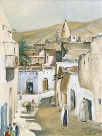 belebte strassenpartie in bou saada in algerien by roland coudon
