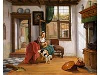 holländisches interieur mit strickender junger frau und hund by abraham van stry the elder