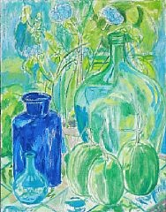 still life with flowers and vases by christine swane
