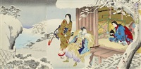 two snow scenes, one scene with nichiren praying and two further battle scenes (5 triptychs) (ôban) by toyohara chikanobu