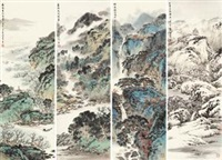 四季山水 (4 works) by xu jianming