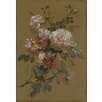 a still life with roses (+ 2 others; 3 works) by theresa maria hegg