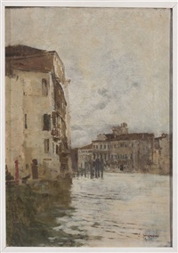 venetian canal scene by eugenio gignous