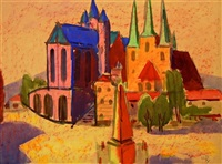 erfurt - dom und severikirche by robert (willy) huth