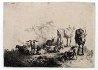landschaft mit der herde und einem milchmädchen (after pieter van laer) by jan van noordt