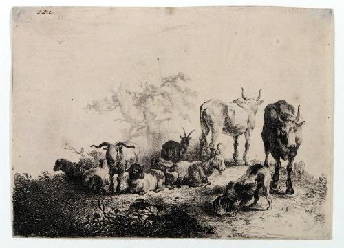 landschaft mit der herde und einem milchmädchen after pieter van laer by jan van noordt