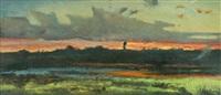 paesaggio al tramonto by achille vertunni