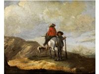 zwei jäger in den bergen begleitet von einem hund by simon johannes van douw