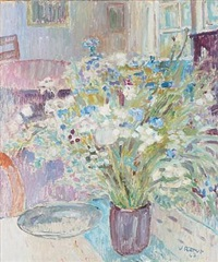 interior with flowers in a vase by viggo rorup