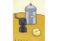 still life with sugar pot and coffee mill by seiichi kasai