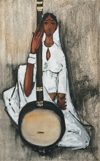 woman with musical instrument by b. prabha