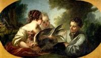 zwei mädchen mit einem hühnchen und ein junge by joseph melling