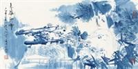 春华秋实 镜心 设色纸本 (painted in 1995 glorious flowers in spring and solid fruits in autumn) by lin yong