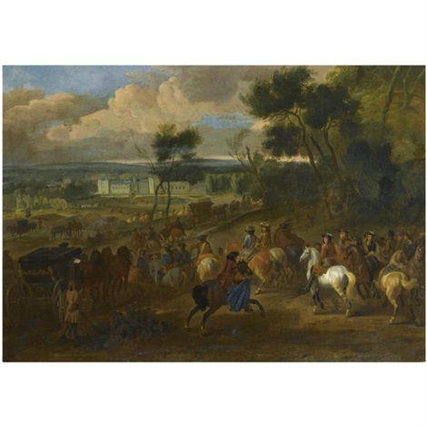 an extensive wooded landscape with king louis xiv and his company returning from the hunt a view of the palace of versailles beyond by dirk maes
