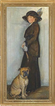 portrait of an elegant lady with her dog by mogens gad